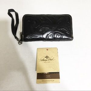 Patricia Nash Black Tooled Zippered Wallet